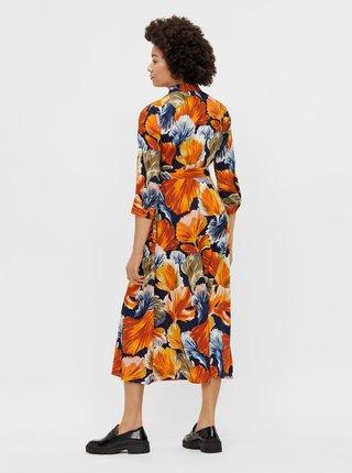 Oranžové květované košilové midišaty Pieces Rosia