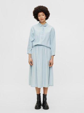 Světle modrá džínová midi sukně Pieces Geya