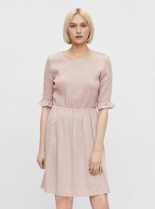 Světle růžové květované šaty Pieces Laoise