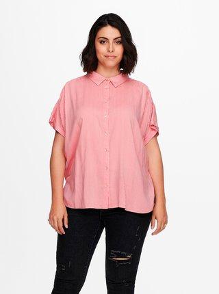 Ružovo-biela pruhovaná košeľa ONLY CARMAKOMA