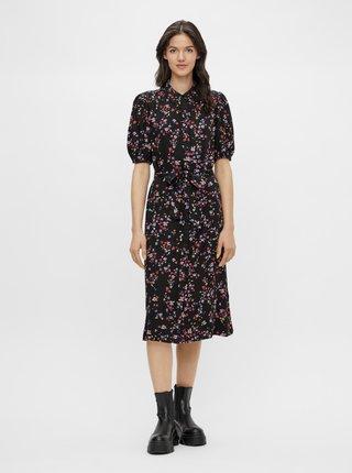 Černé květované košilové midišaty Pieces Lala