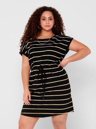 Černo-žluté pruhované šaty ONLY CARMAKOMA