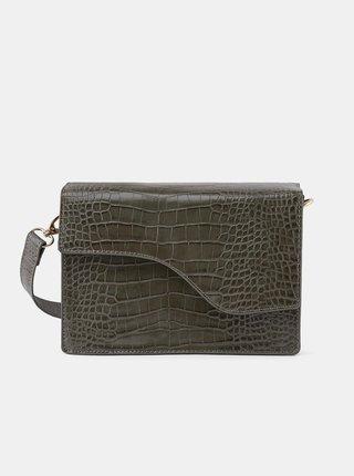 Khaki crossbody kabelka s krokodýlím vzorem Pieces Gunes