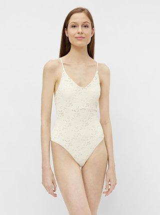 Krémové krajkové jednodílné plavky Pieces Greta