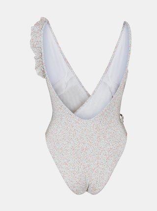 Bílé květované jednodílné plavky Pieces Gaby