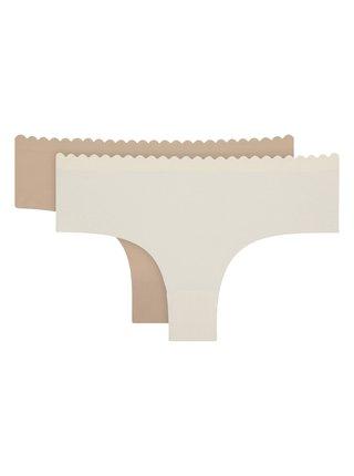 DIM BODY TOUCH MICRO HIPSTER 2x - Dámské kalhotky z mikrovlákna - smetanová - tělová