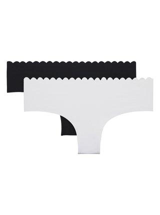 DIM BODY TOUCH COTTON HIPSTER 2x - Dámské bavlněné kalhotky 2 ks - černá - bílá