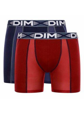 DIM 3D FLEX AIR LONG BOXER 2x - Pánské sportovní boxerky 2 ks - tmavě červená - tmavě modrá