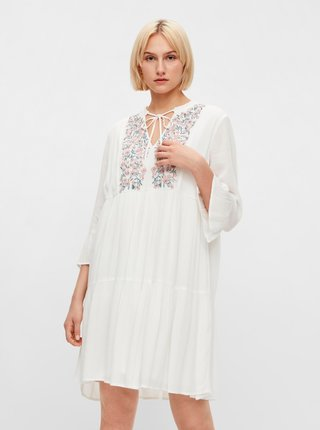 Bílé volné šaty s výšivkou Pieces Leia