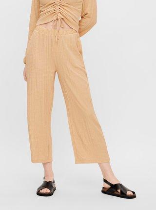 Béžové zkrácené volné kalhoty Pieces Lara