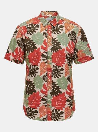 Béžová vzorovaná košile s krátkým rukávem ONLY & SONS-Stone