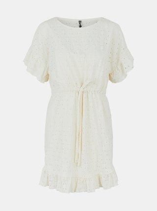 Krémové šaty s madeirou Pieces Life