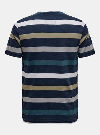 Modré pruhované tričko ONLY & SONS