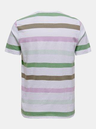 Biele pruhované tričko ONLY & SONS