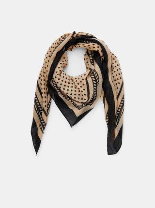 Černo-béžový vzorovaný šátek Pieces Lulan
