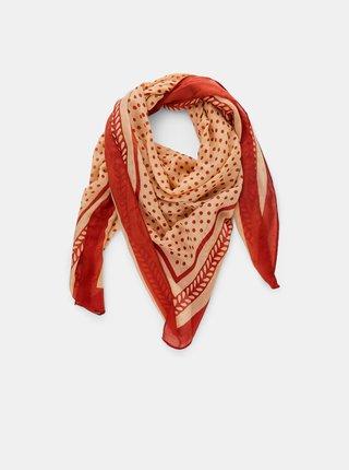 Béžovo-hnědý vzorovaný šátek Pieces Lulan