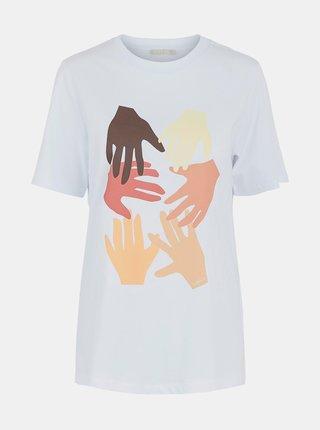 Bílé dlouhé tričko s potiskem Pieces Lanea