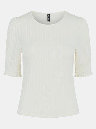 Tričká s krátkym rukávom pre ženy Pieces - krémová