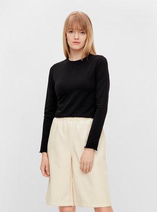 Tričká s dlhým rukávom pre ženy Pieces - čierna