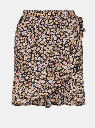 Černá květovaná zavinovací sukně ONLY-Fuchsia