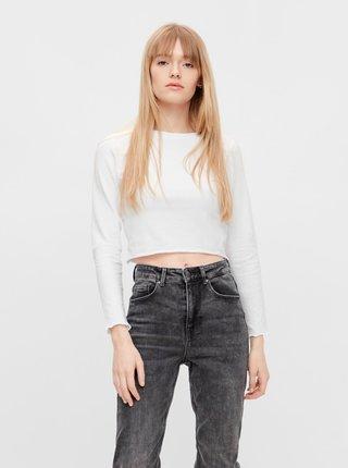 Tričká s dlhým rukávom pre ženy Pieces - biela