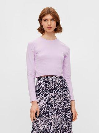 Tričká s dlhým rukávom pre ženy Pieces - svetlofialová