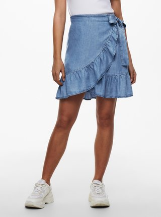 Modrá džínová zavinovací sukně ONLY