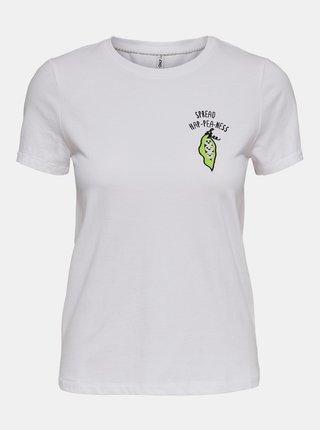 Biele tričko s potlačou ONLY