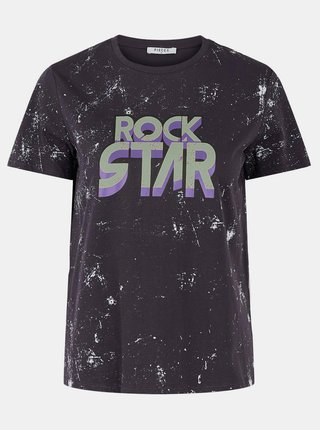 Černé vzorované tričko s potiskem Pieces Yndi