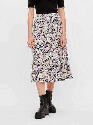 Černo-fialová květovaná midi sukně Pieces Karry