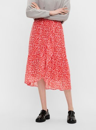 Červená vzorovaná midi sukně Pieces Rio