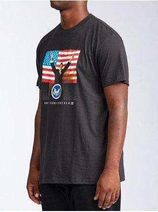 Billabong AI FOR PRESIDENT black pánské triko s krátkým rukávem - šedá
