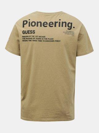 Guess khaki pánske tričko Placed Print