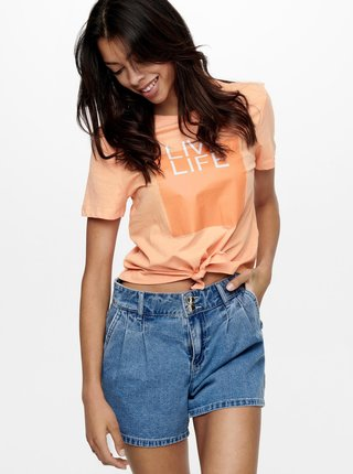 Oranžové tričko s potiskem ONLY