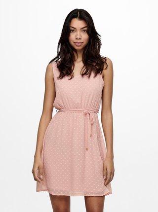 Růžové puntíkované šaty ONLY