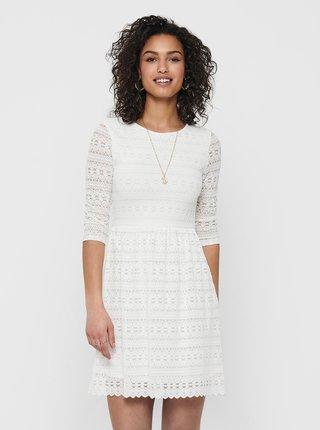 Biele krajkové šaty ONLY