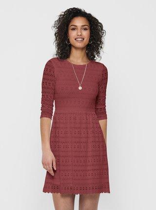 Vínové krajkové šaty ONLY