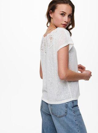 Bílé tričko s krajkovým detailem na zádech ONLY