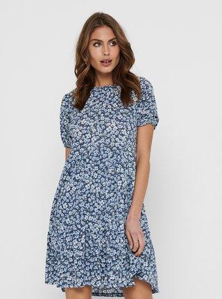Modré kvetované šaty ONLY