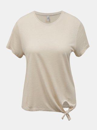 Béžové tričko s uzlom ONLY Signe
