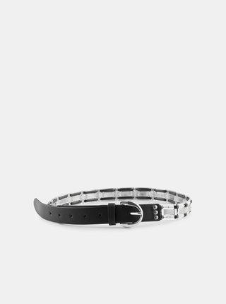 Čierny opasok s kovovými detailmi Pieces Linette