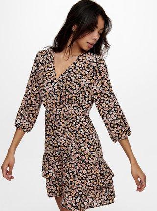 Černé květované šaty ONLY-Fuchsia