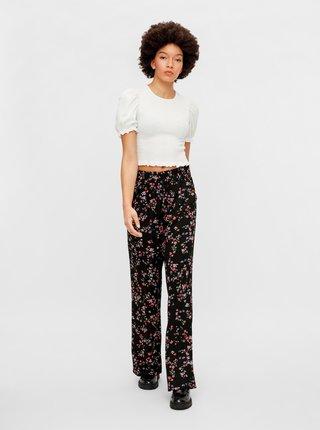 Černé květované kalhoty Pieces Lala