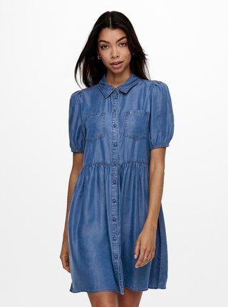 Modré rifľové košeľové šaty ONLY