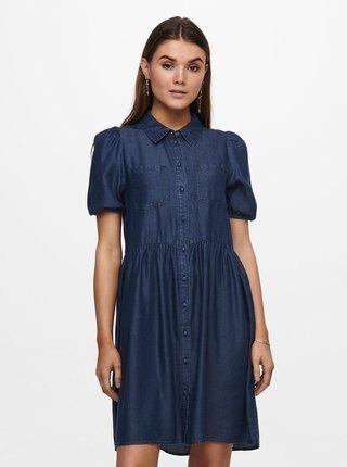 Tmavomodré rifľové košilové šaty ONLY