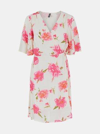Krémové květované zavinovací šaty Pieces Tianna