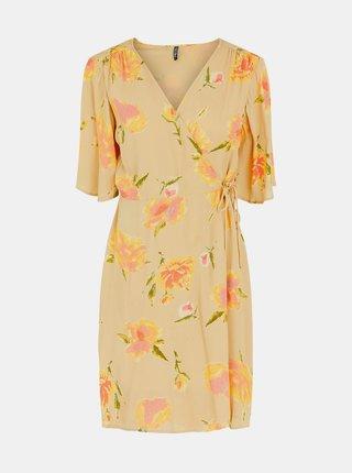 Béžové květované zavinovací šaty Pieces Tianna