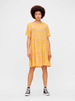 Žluté květované volné šaty Pieces Trina