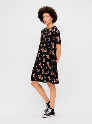 Černé květované volné šaty Pieces Trina