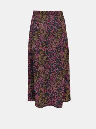 Růžovo-modrá květovaná midi sukně ONLY
